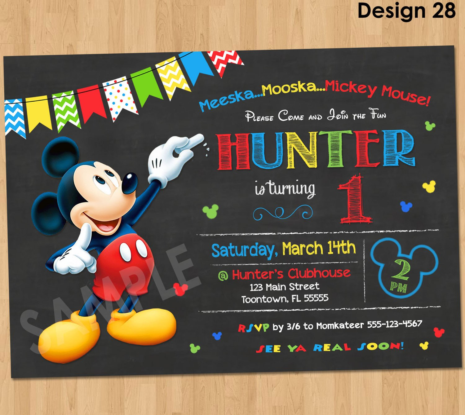 Mickey Mouse Birthday Invitations Template Mickey Mouse Birthday Invitation Mickey Mouse Clubhouse