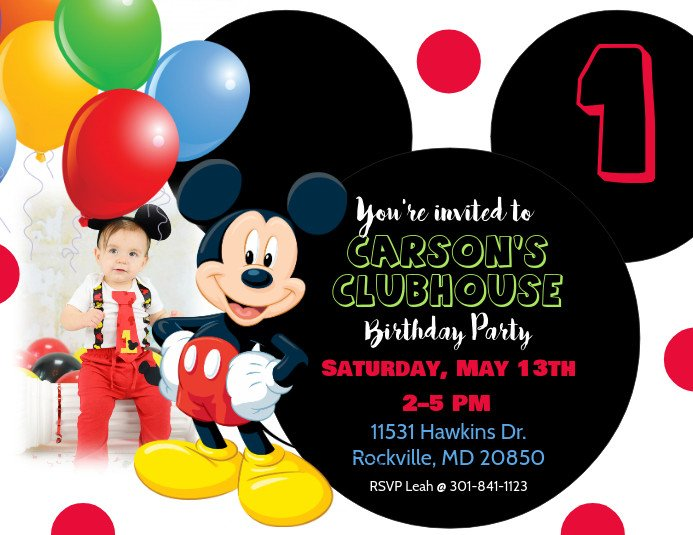 Mickey Mouse Birthday Invitations Template Mickey Mouse Birthday Invitation Template
