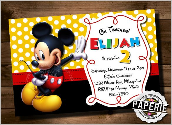 Mickey Mouse Birthday Invitations Template Mickey Mouse Invitation Templates – 26 Free Psd Vector