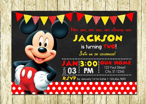 Mickey Mouse Birthday Invitations Template Mickey Mouse Printed Chalkboard Birthday Invitations