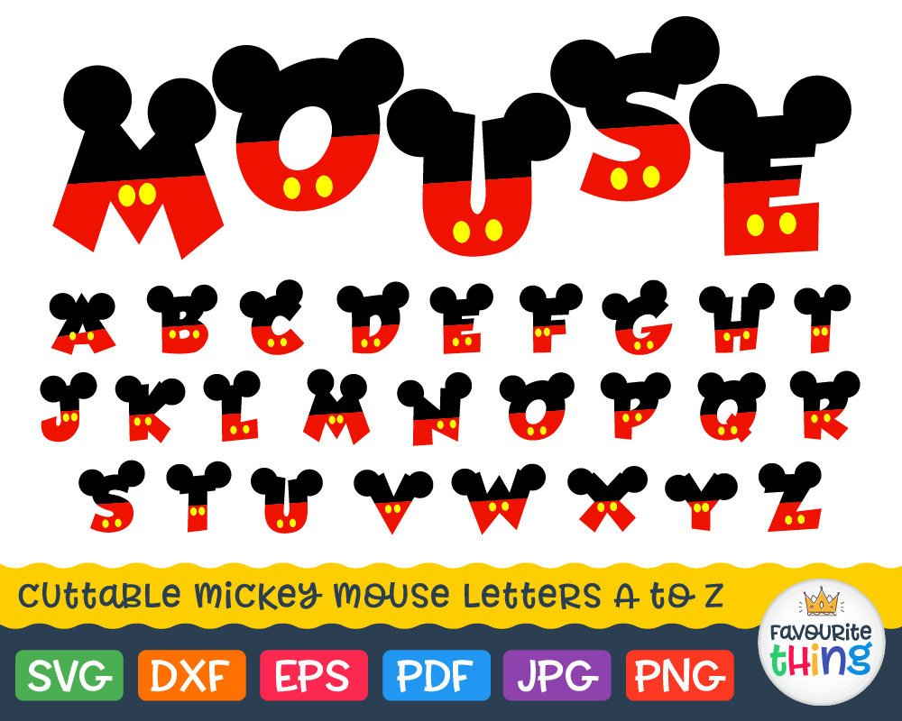 Mickey Mouse Font Free Mickey Font Svg Letters with Mickey Mouse Ears Svg Disney