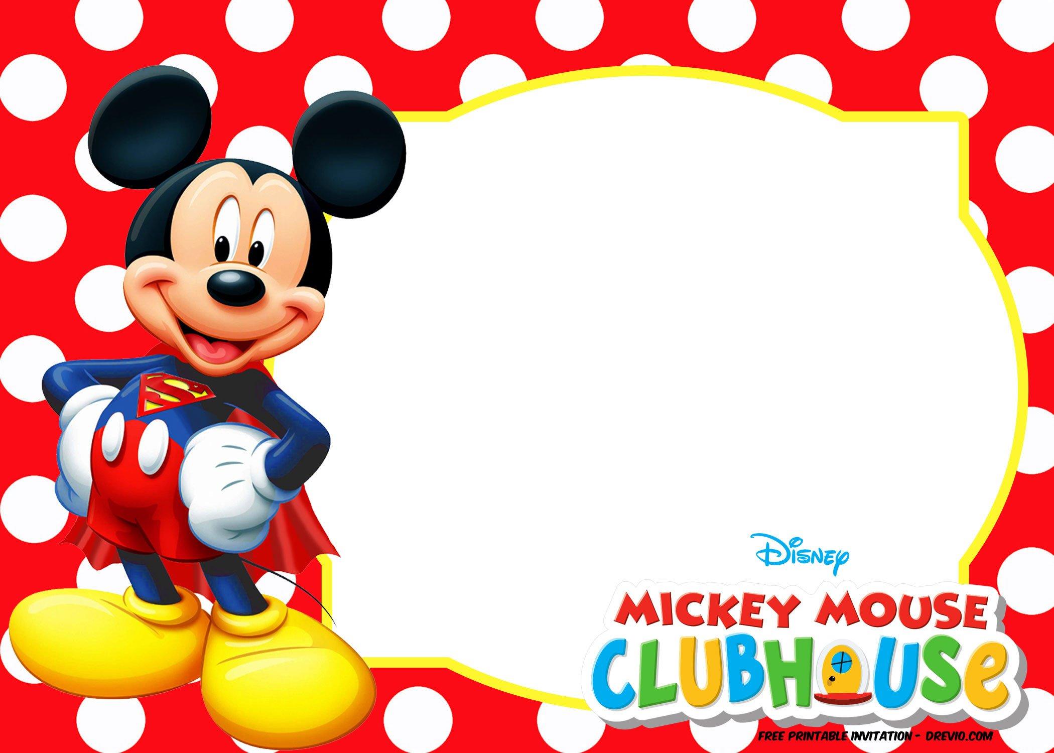 Mickey Mouse Invitation Template Mickey Mouse Polka Dot Invitation Templates