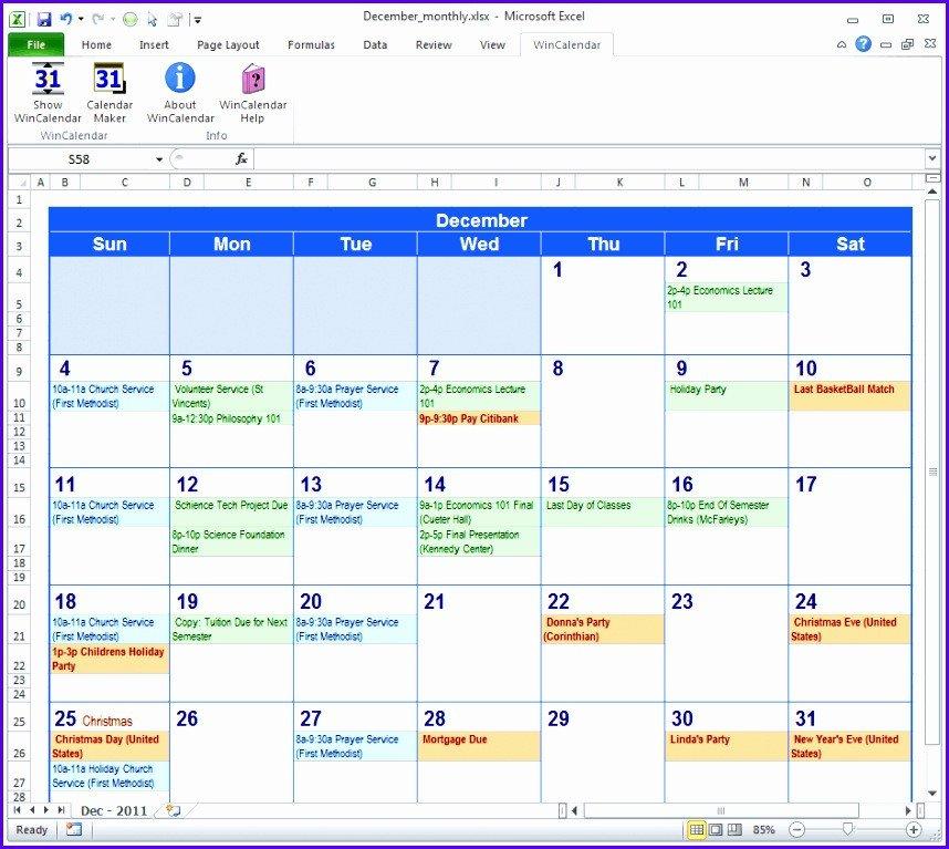 Microsoft Excel Calendar Template 9 Download Calendar Template Excel Exceltemplates