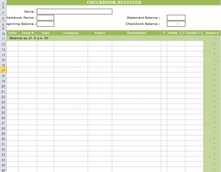 Microsoft Excel Checkbook Template Checkbook Register Template In Excel