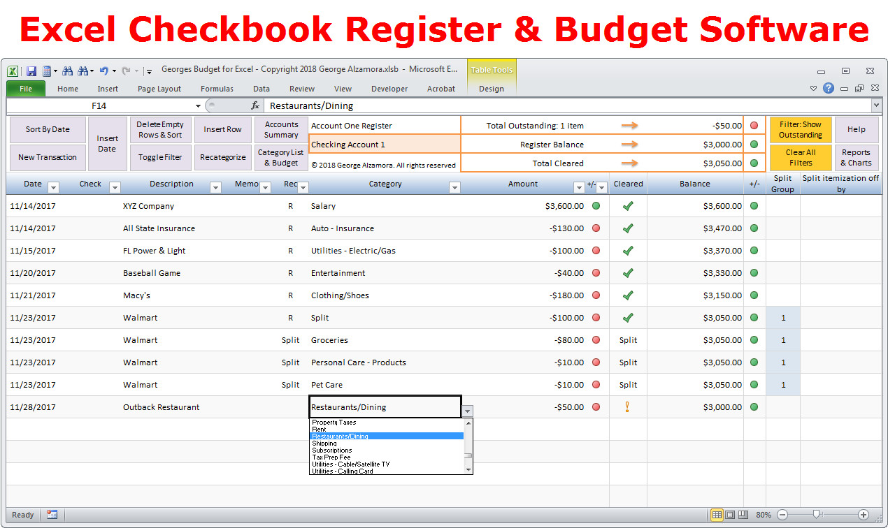 Microsoft Excel Checkbook Template Personal Bud Ing software Excel Bud Spreadsheet
