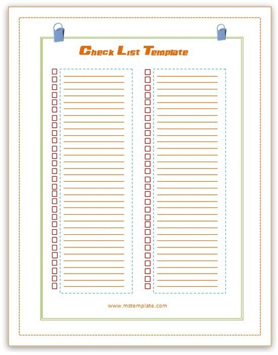 Microsoft Office Check Template Checklist Template