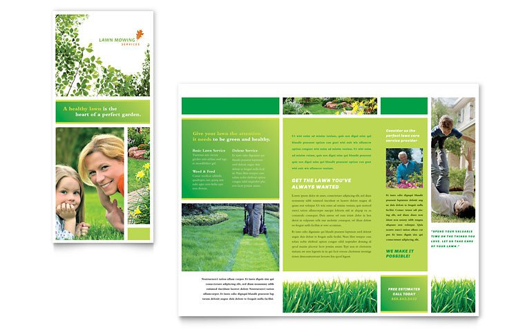 Microsoft Publisher Booklet Templates Lawn Mowing Service Brochure Template Word & Publisher