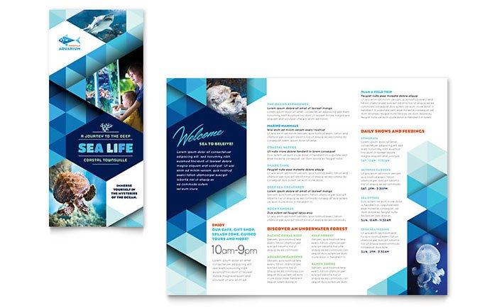 Microsoft Publisher Booklet Templates Ocean Aquarium Brochure Template Word & Publisher