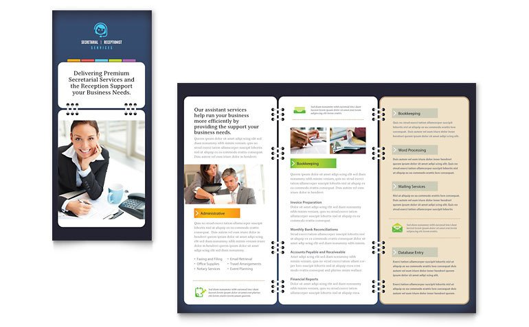 Microsoft Publisher Booklet Templates Secretarial Services Tri Fold Brochure Template Word