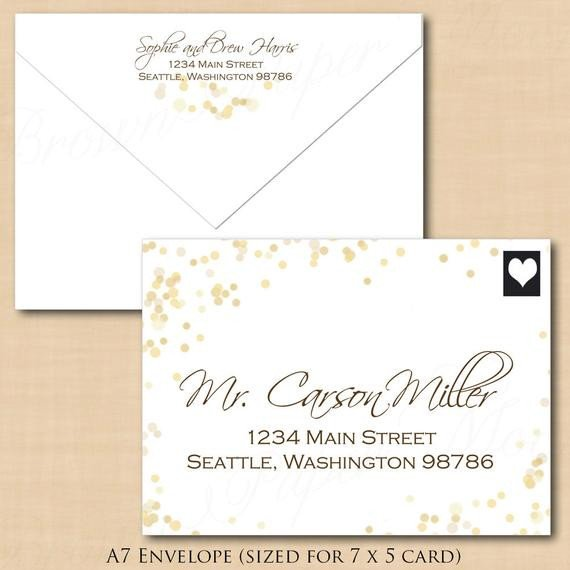 White Gold Sparkles Address Wedding Envelope by BrownPaperMoon