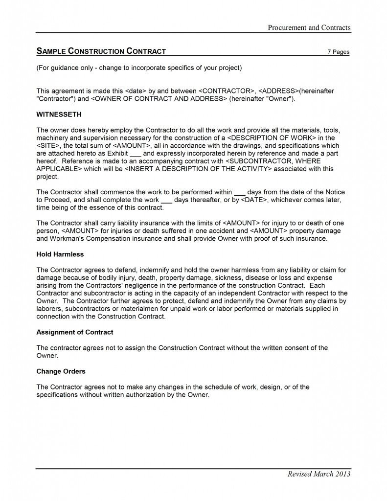 Microsoft Word Contract Template Construction Contract Template Free Microsoft Word Templates