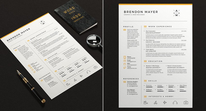 Microsoft Word Design Templates 25 Professional Ms Word Resume Templates with Simple