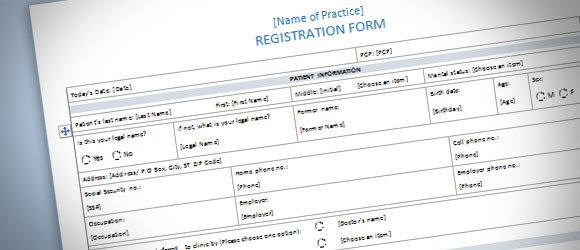 Microsoft Word forms Template Patient Registration form Template for Word 2013