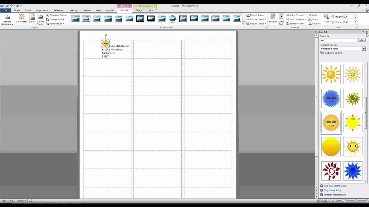 Microsoft Word Label Template How to Add and Text to Label Templates In Microsoft