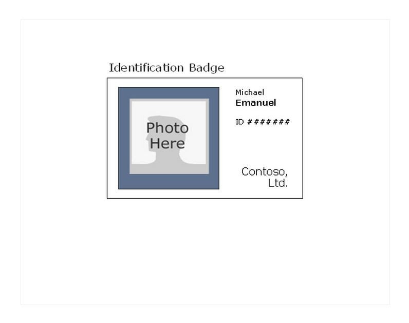 Microsoft Word Name Tag Template Id Badge Template Id Badge