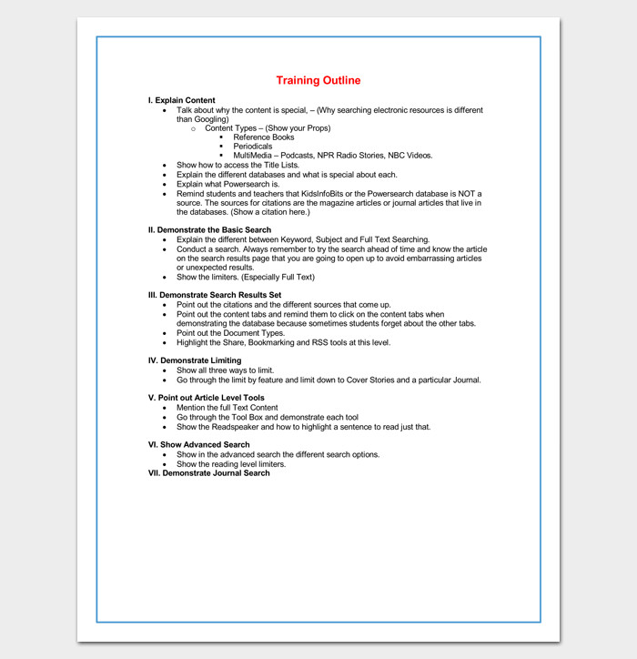 Microsoft Word Outline Template Training Course Outline Template 24 Free for Word & Pdf
