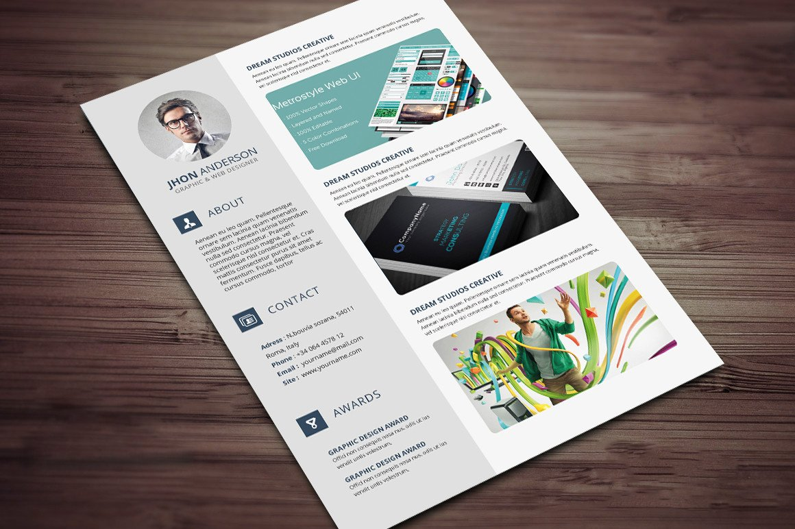 Microsoft Word Portfolio Template Creative Resume Cv Template with Cover Letter and