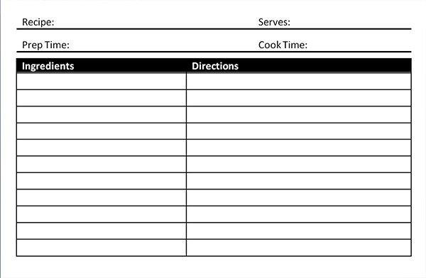 Microsoft Word Recipe Template Recipe Card Template Microsoft Word Blank Card