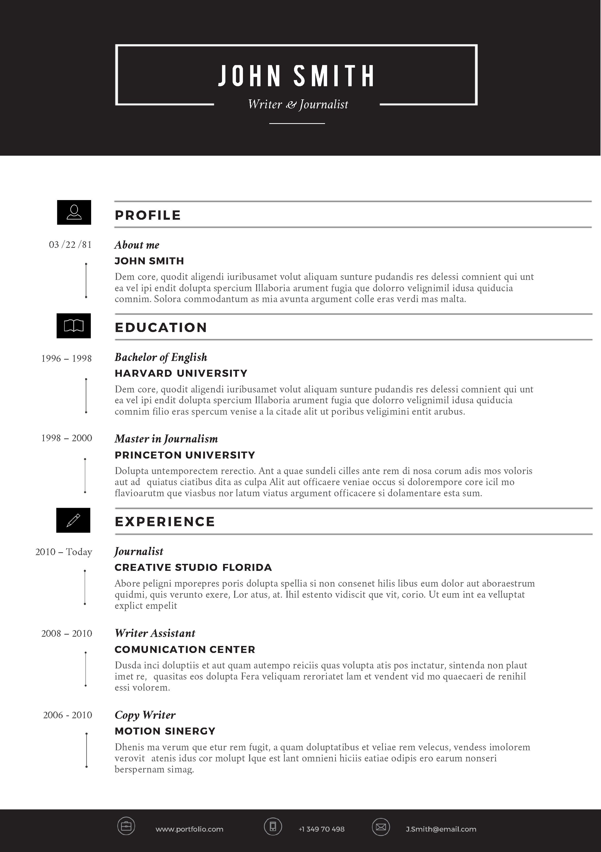 Microsoft Word Resume Template Download Creative Resume Template by Cvfolio Resumes
