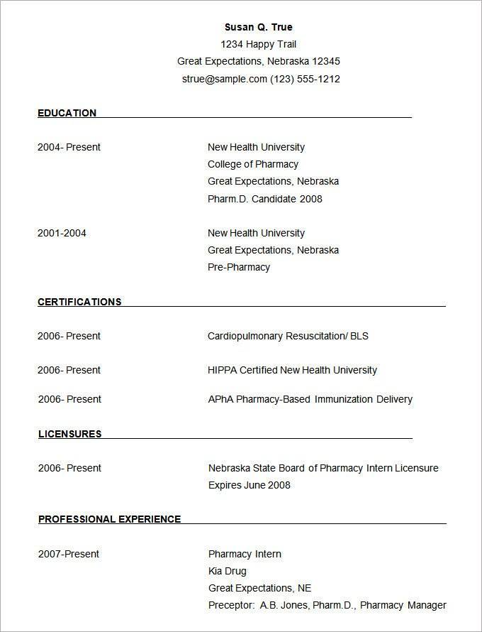 Microsoft Word Resume Template Download Microsoft Word Resume Template 49 Free Samples