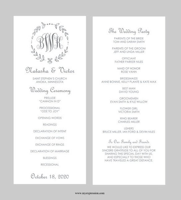 Microsoft Word Wedding Program Templates 43 Wedding Templates Word