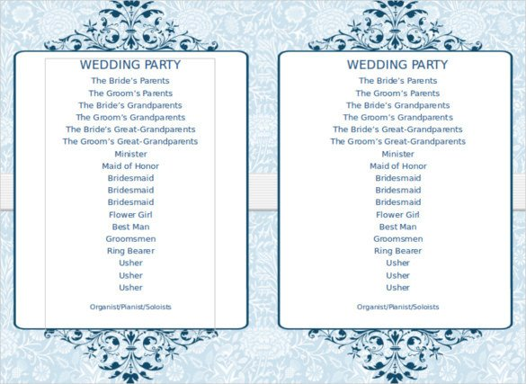 8 Word Wedding Program Templates Free Download