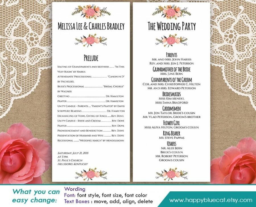 Microsoft Word Wedding Program Templates Diy Printable Program Wedding Template Instant Download