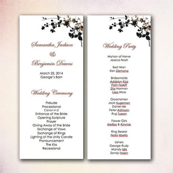 Microsoft Word Wedding Program Templates Diy Wedding Program Template Instant Download by Cheapobride