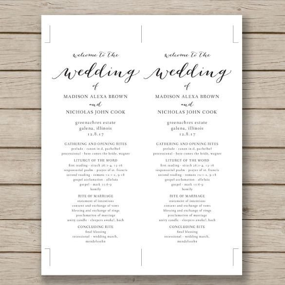 Microsoft Word Wedding Program Templates Wedding Program Template – 41 Free Word Pdf Psd