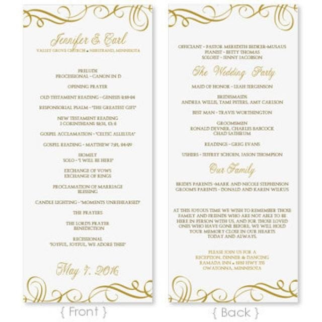Microsoft Word Wedding Program Templates Wedding Program Template Download Instantly Edit