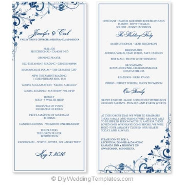 Microsoft Word Wedding Program Templates Wedding Program Template Instant Download Edit