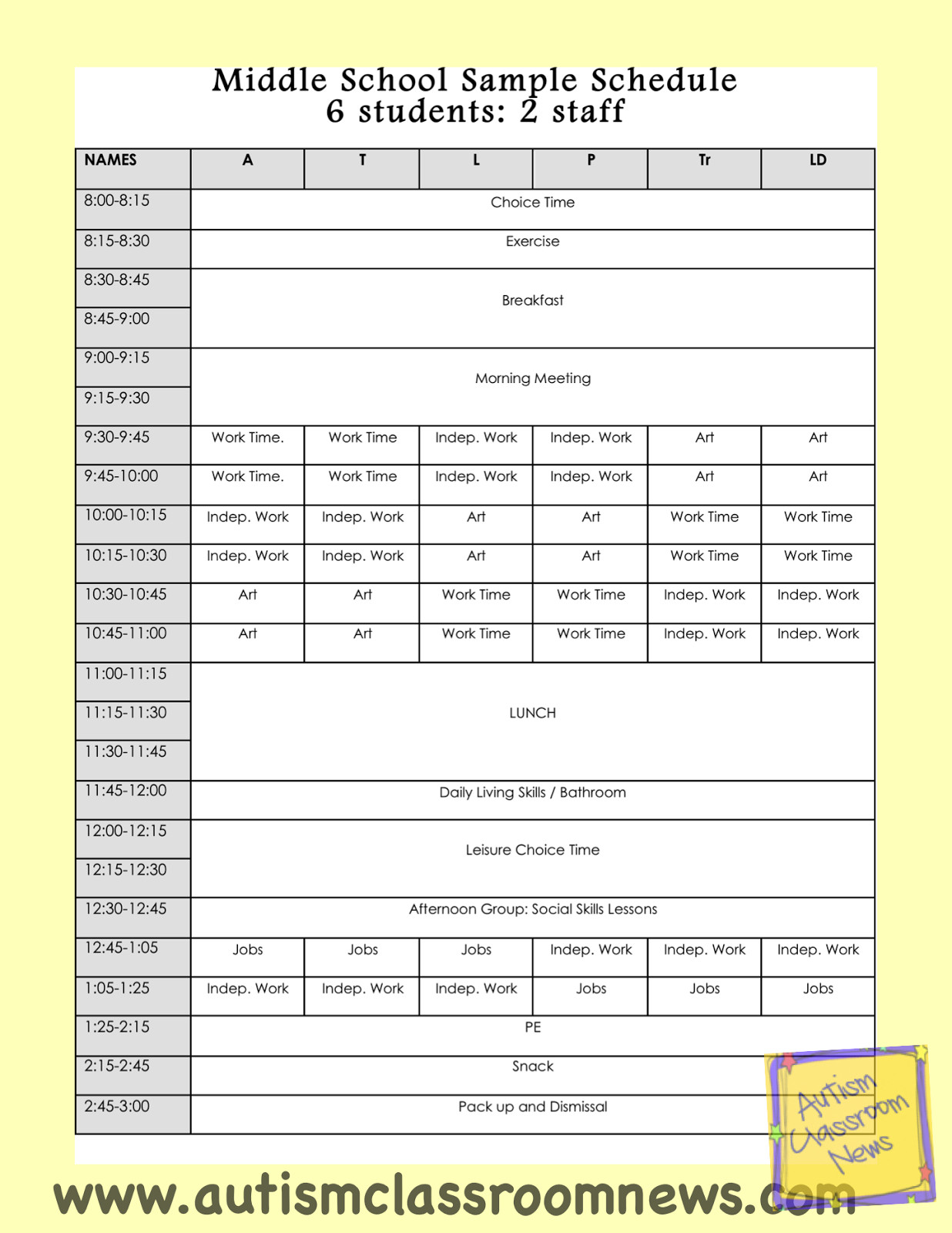 Middle School Schedule Template Back to School Setting Up Classrooms for Students with
