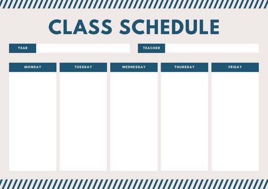 Middle School Schedule Template Customize 403 Class Schedule Templates Online Canva