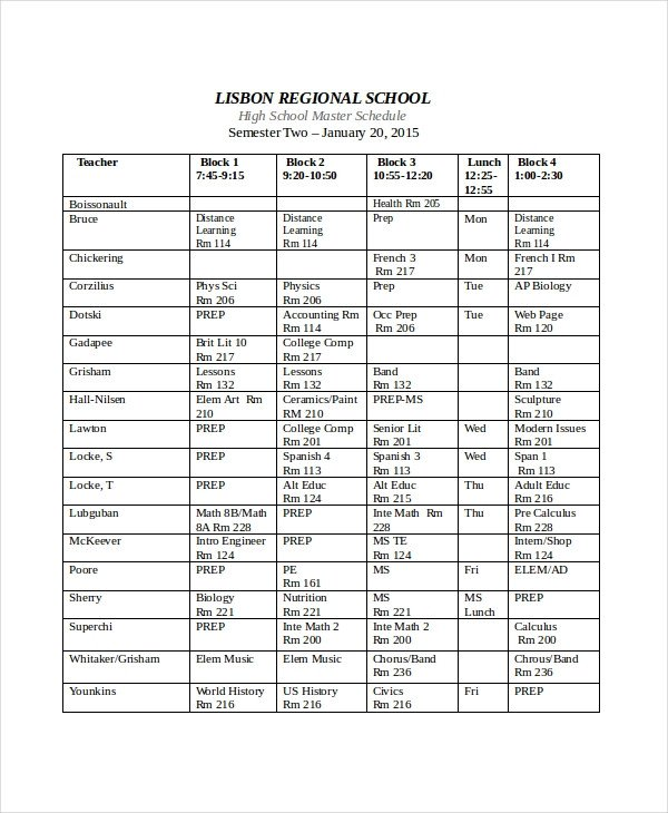 Middle School Schedule Template Master Schedule Template 11 Free Word Pdf Documents
