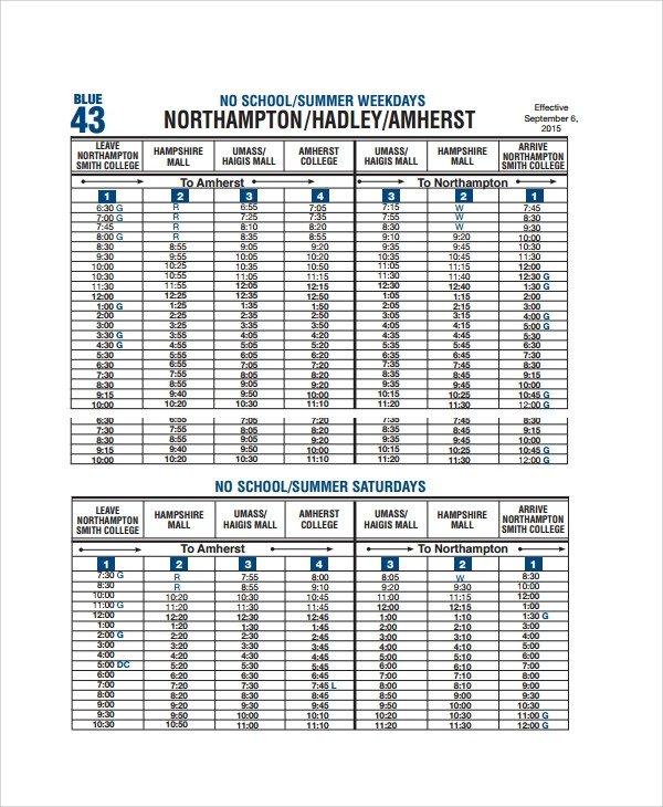 Middle School Schedule Template Sample School Schedule Template 11 Free Documents