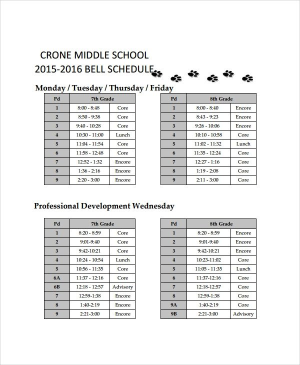 Sample School Schedule Template 11 Free Documents