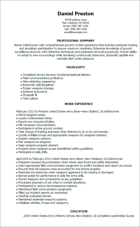 Military to Civilian Resume Template Professional Infantryman Templates to Showcase Your Talent