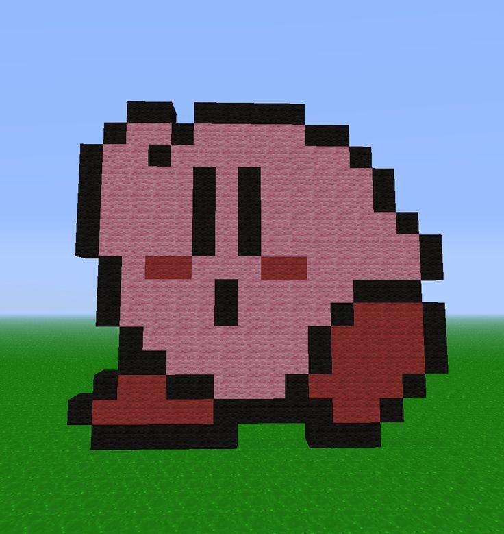 Minecraft Easy Pixel Art Easy Minecraft Art Kirbykirby Pixel Pixel Art Kirby