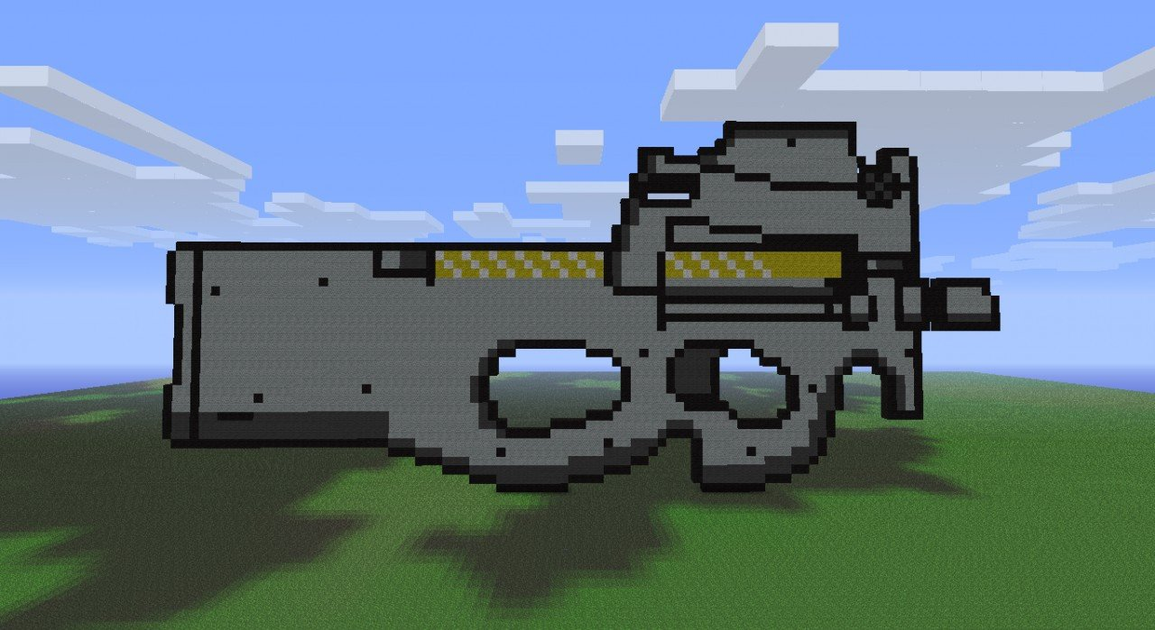 FN P90 Gun Pixel Art Minecraft Project