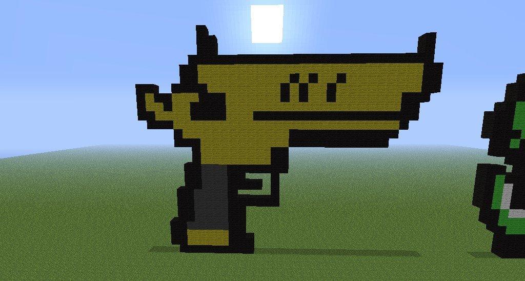 Minecraft Gun Pixel Art Golden Gun Dont for to Challenge Me Minecraft Project