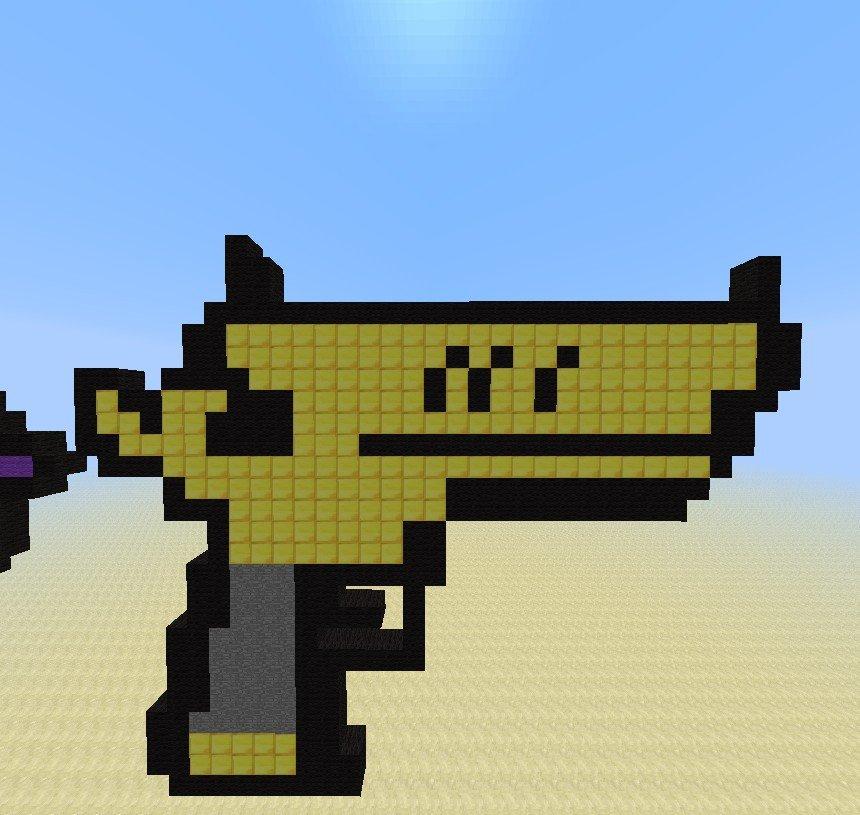 Minecraft Gun Pixel Art Golden Gun Minecraft Project