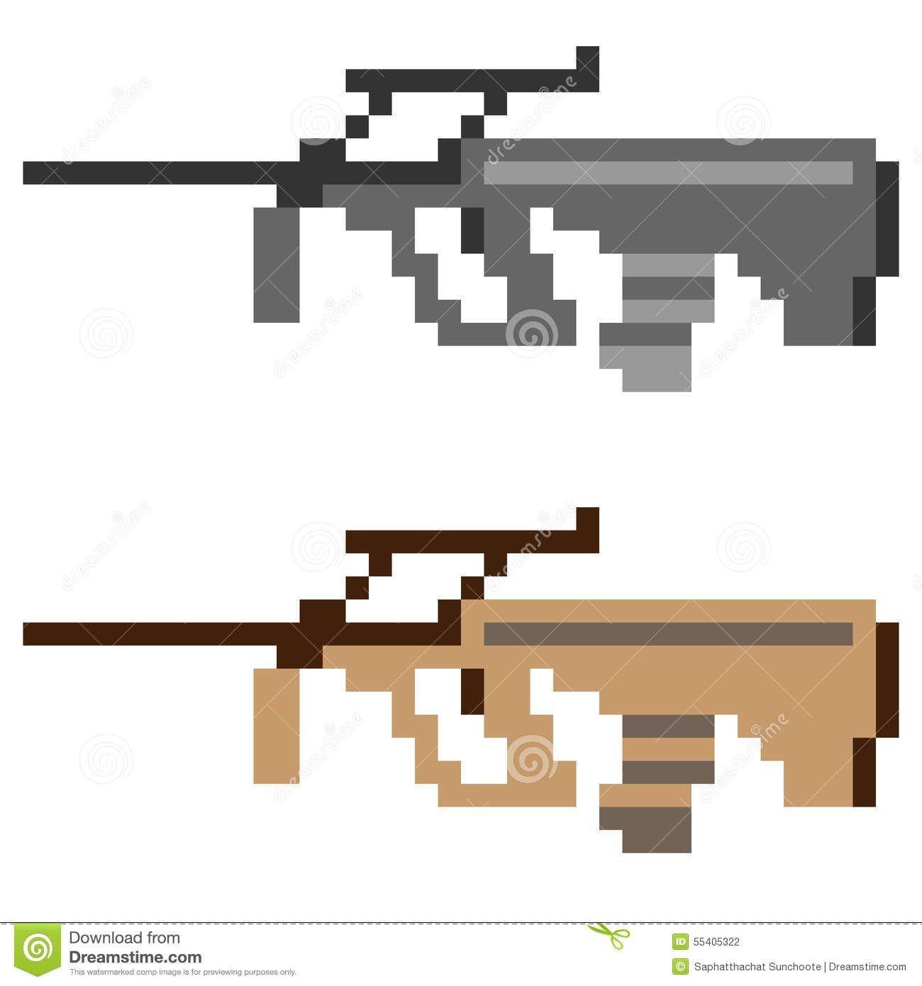 Minecraft Gun Pixel Art Illustration Pixel Art Icon Gun assault Rifle Illustration