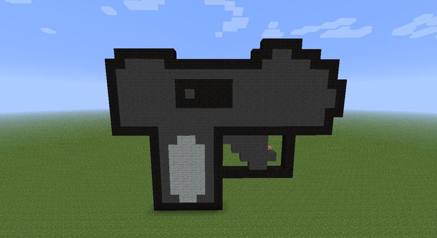 Minecraft Gun Pixel Art Mac 11 Minecraft Pixel Art by Xenomorph111 On Deviantart