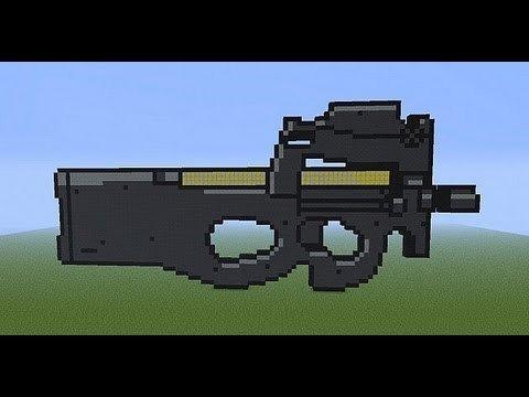 Minecraft Gun Pixel Art Minecraft Xbox Pc P90 Pixel Art Tutorial