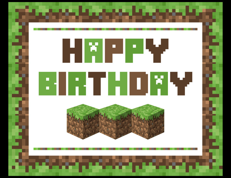 Minecraft Happy Birthday Images Download these Awesome Free Minecraft Printables