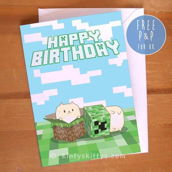 Minecraft Happy Birthday Images Items Similar to Minecraft Creeper Kittys Happy Birthday