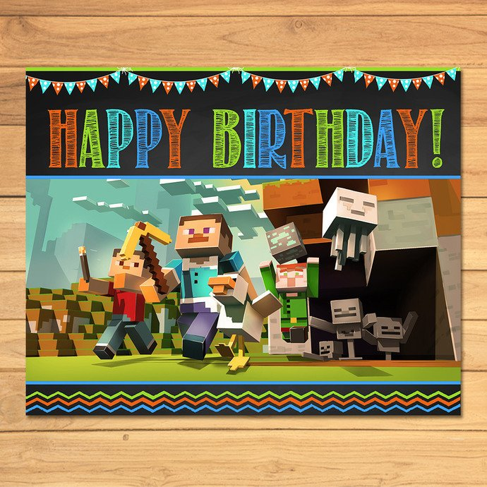 Minecraft Happy Birthday Images Minecraft Birthday Sign Chalkboard Flags by Monkstavern