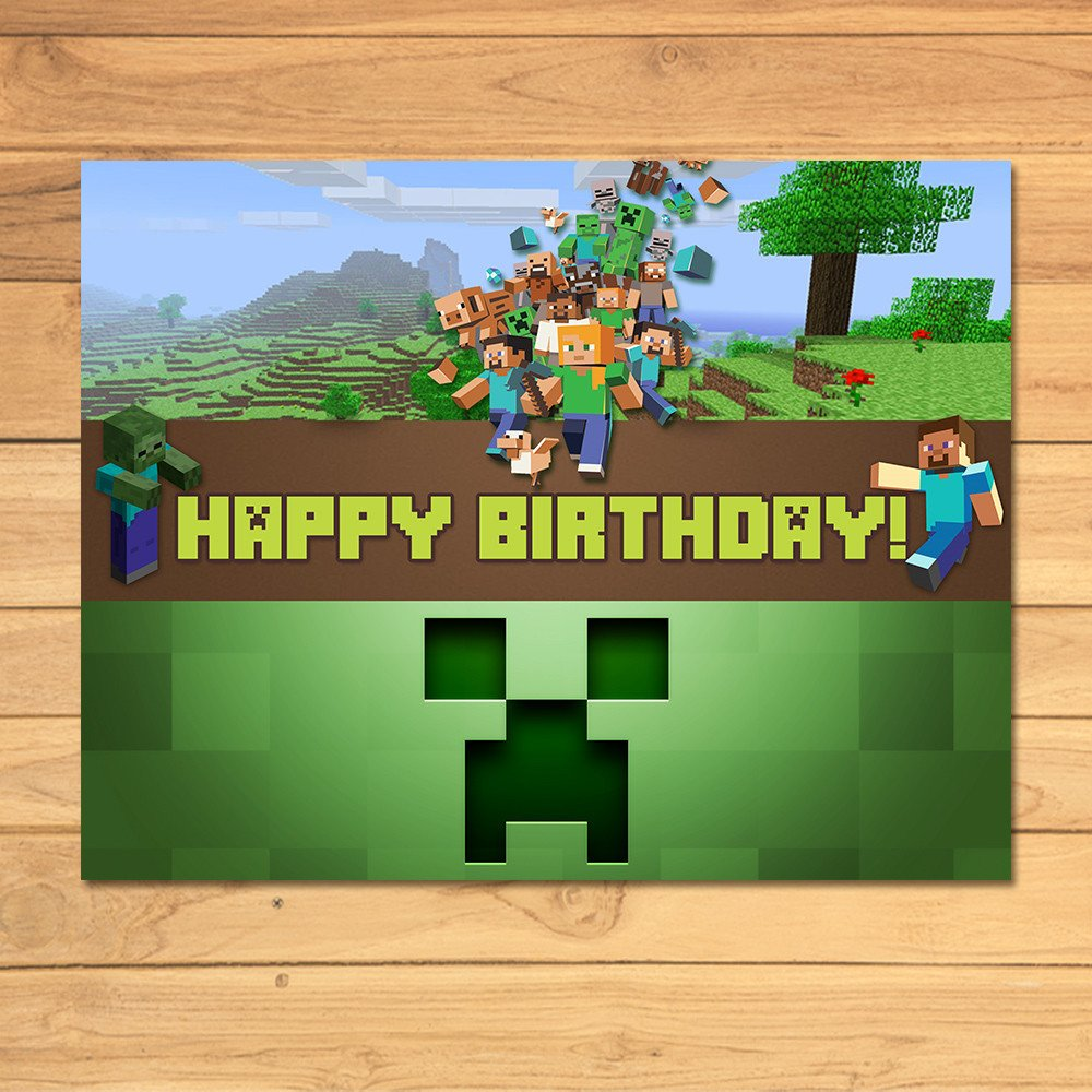 Minecraft Birthday Sign Green Blocks by MonksTavern on