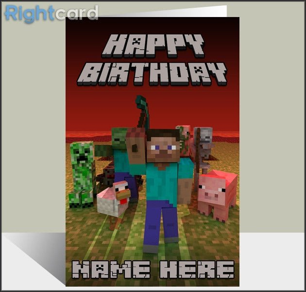 Minecraft Happy Birthday Images Rightcard — Custom Minecraft Inspired Birthday Card