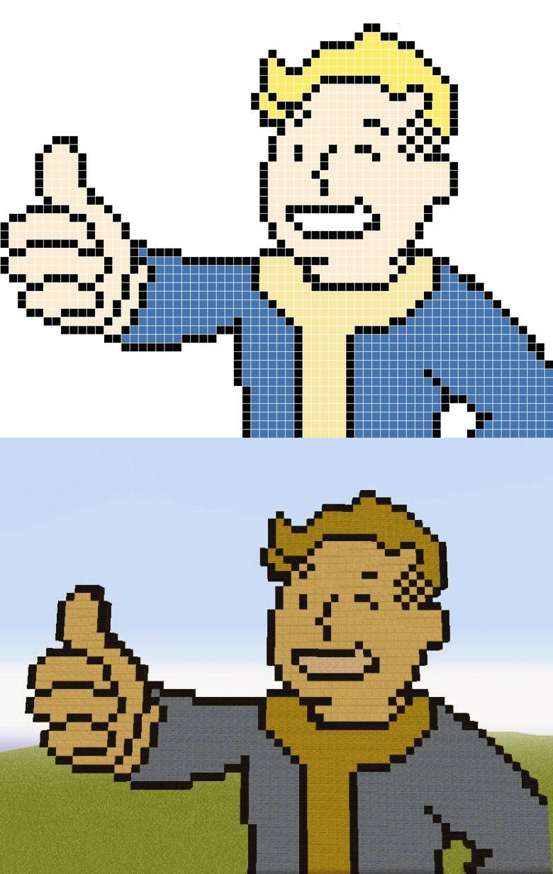 Minecraft Fallout Pixel Art Templates